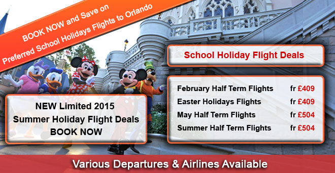 BOOK NOW and Save on Preferred School Holiday Flights to Orlando